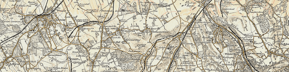 Old map of Woodmansterne in 1897-1909