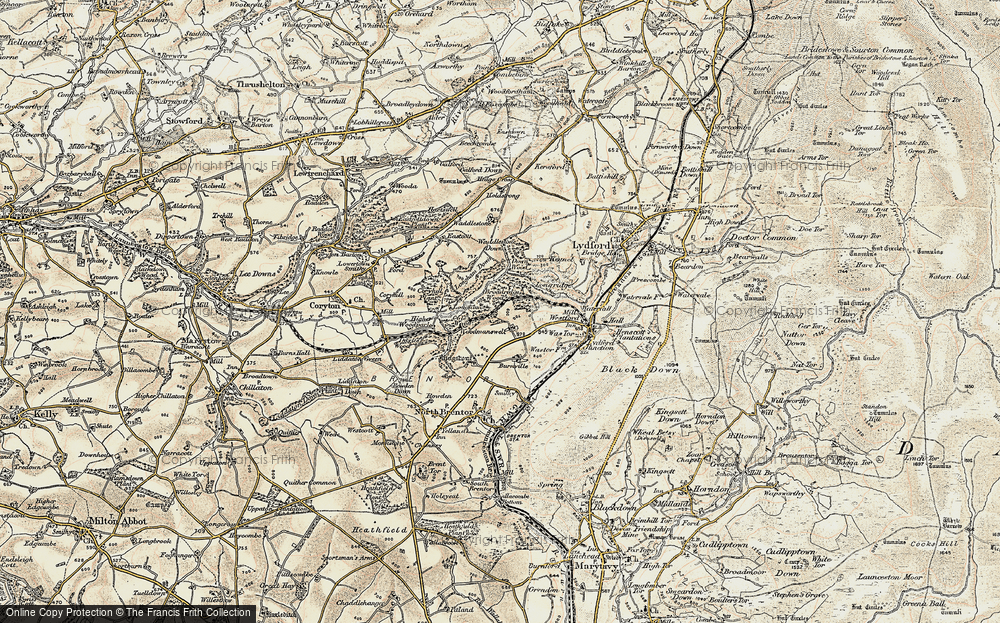Old Map of Historic Map covering Langstone Manor in 1899-1900