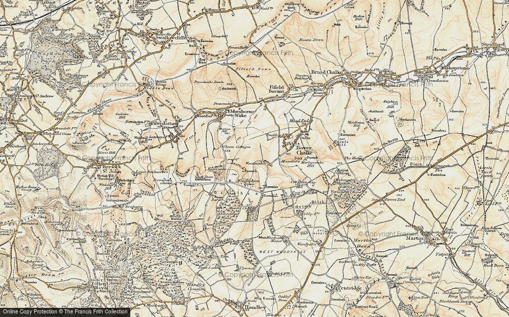 Old Map of Historic Map covering Woodminton Down in 1897-1909