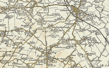 Old map of Woodnesborough in 1898-1899