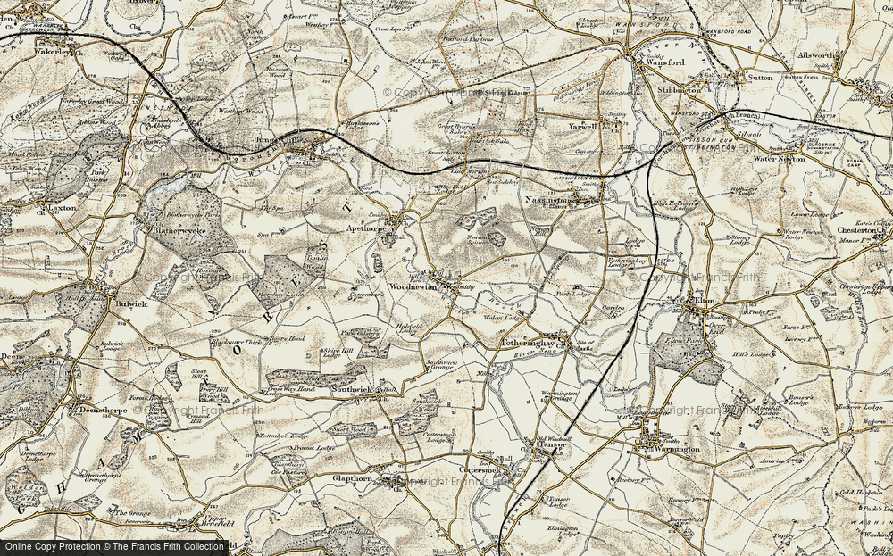 Old Map of Woodnewton, 1901-1903 in 1901-1903