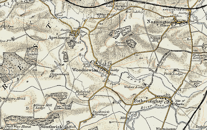 Old map of Woodnewton in 1901-1903