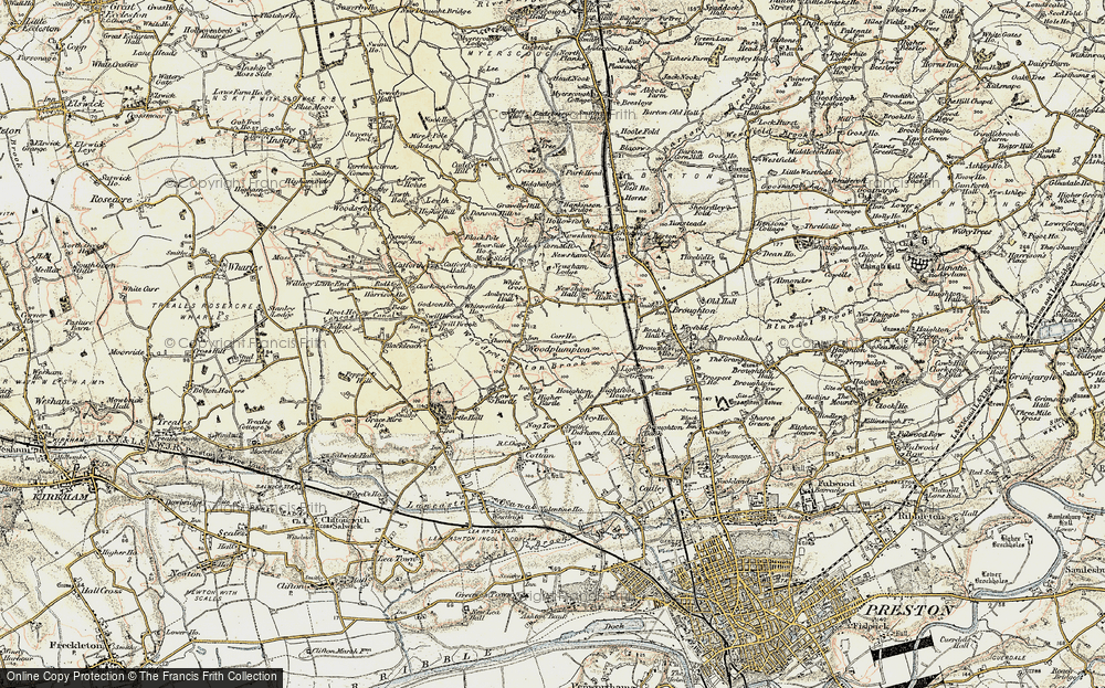 Old Map of Historic Map covering Woodplumpton Brook in 1903-1904