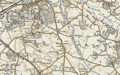 Old map of Woodseaves in 1902