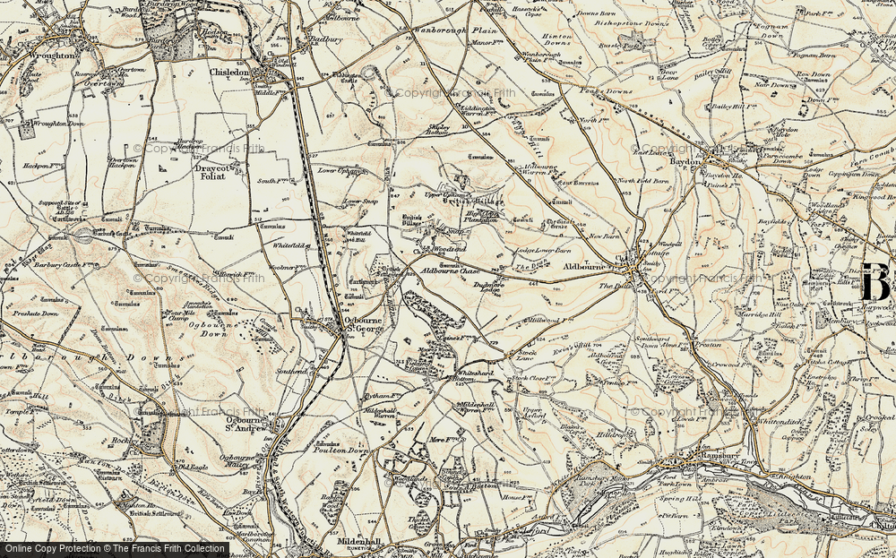 Old Map of Historic Map covering Aldbourne Chase in 1897-1899