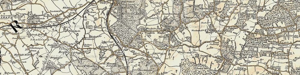 Old map of Woodside in 1898
