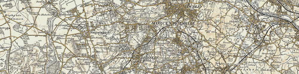 Old map of Woodside in 1902