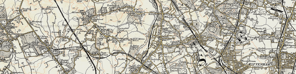 Old map of Woodside Park in 1897-1898