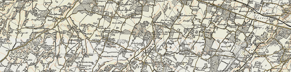 Old map of Woodstock in 1897-1898