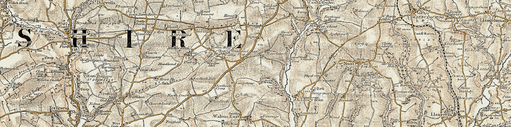 Old map of Woodstock Cross in 1901-1912