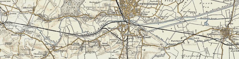 Old map of Woodston in 1901-1902