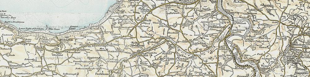 Old map of Winscott Barton in 1900