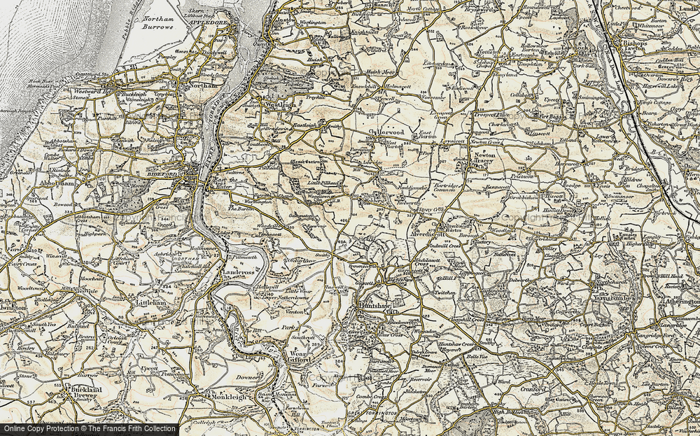 Old Map of Historic Map covering Ashridge in 1900