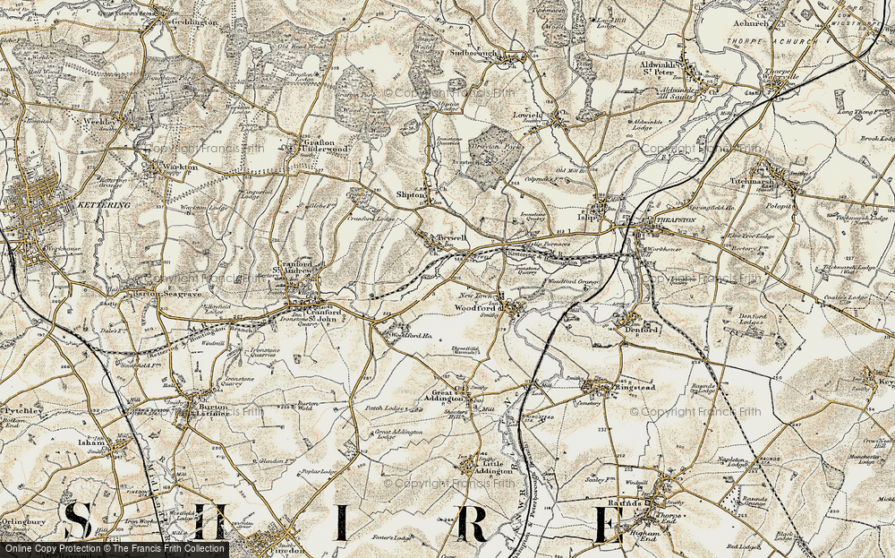Old Map of Historic Map covering Woodford Ho in 1901-1902