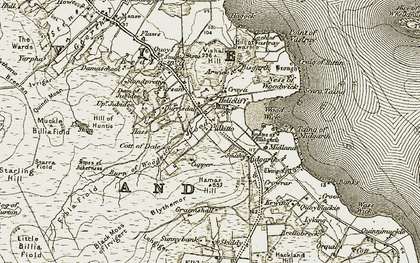 Old map of Arwick in 1911-1912