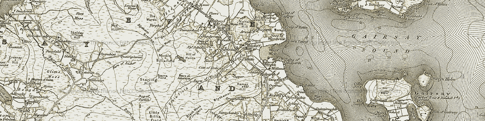 Old map of Woodwick House in 1911-1912