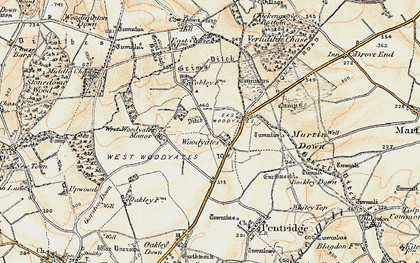 Old map of Woodyates in 1897-1909