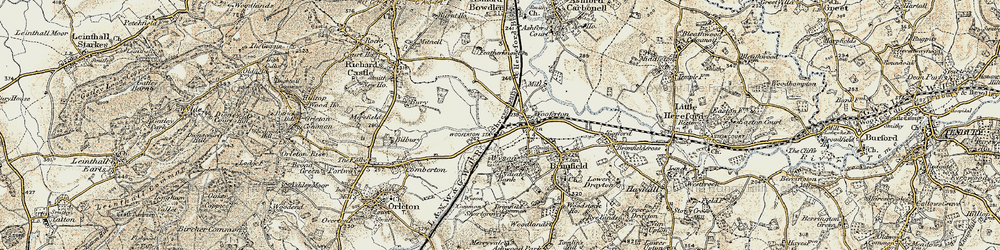Old map of Woofferton in 1901-1902