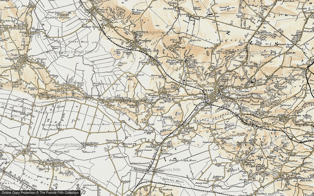 Old Map of Wookey, 1899 in 1899