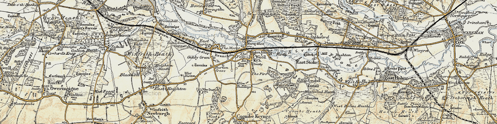 Old map of Wool in 1899-1909