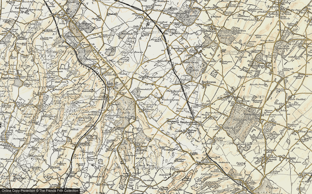 Old Map of Woolage Green, 1898-1899 in 1898-1899