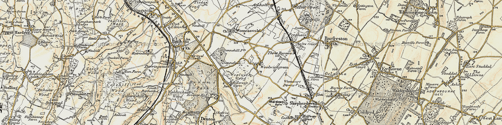 Old map of Woolage Green in 1898-1899