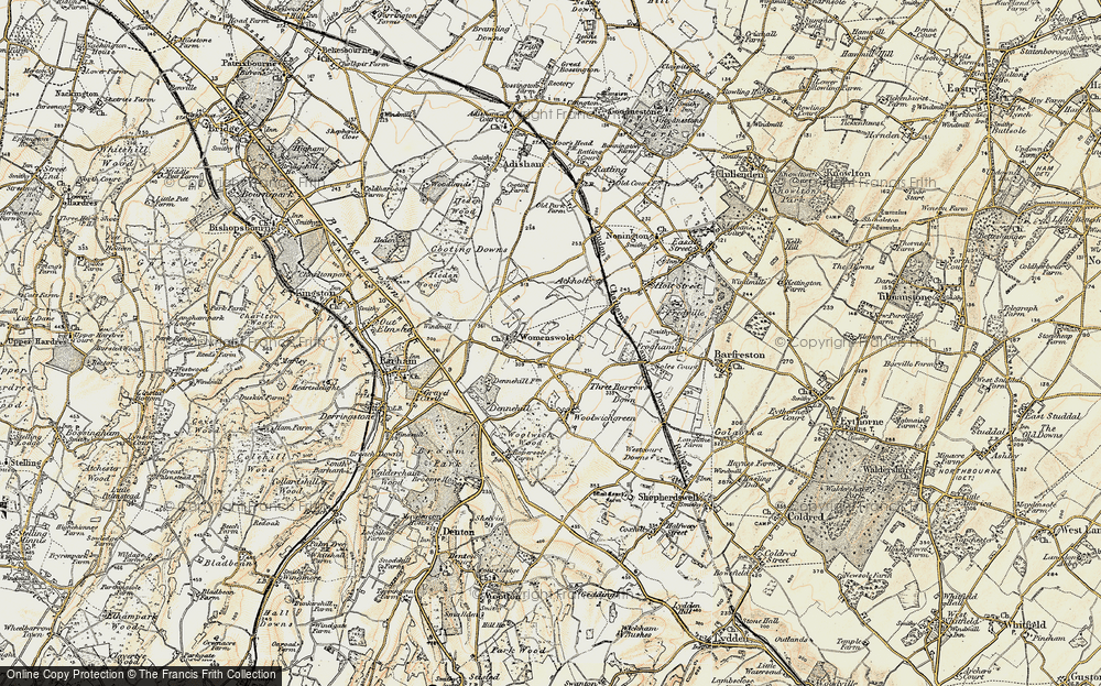 Old Map of Woolage Village, 1898-1899 in 1898-1899