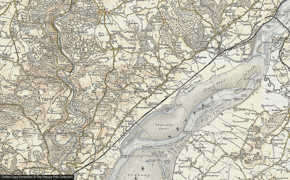 Old Map of Historic Map covering Woolaston Grange in 1899-1900