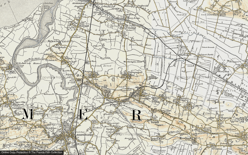 Old Map of Historic Map covering Woolavington Level in 1898-1900