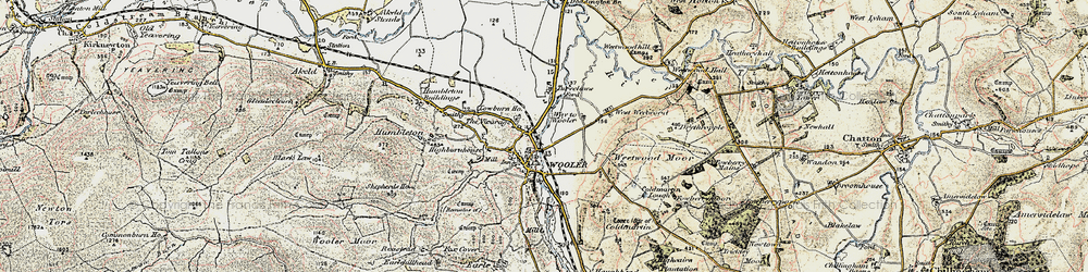 Old map of Wooler in 1901-1903