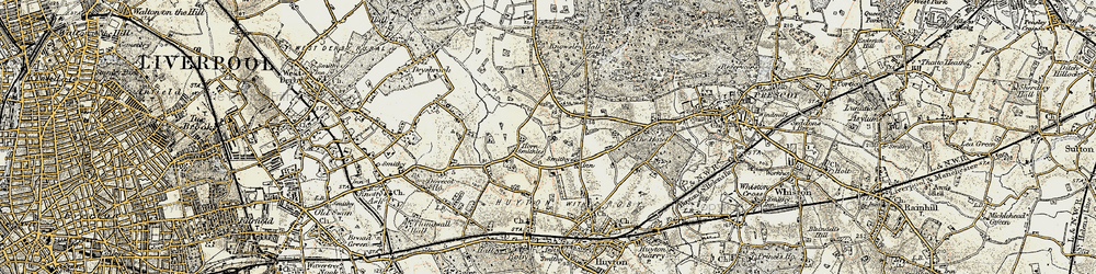 Old map of Woolfall Heath in 1902-1903