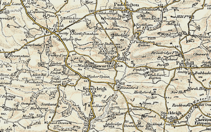 Old map of Woolfardisworthy in 1899-1900