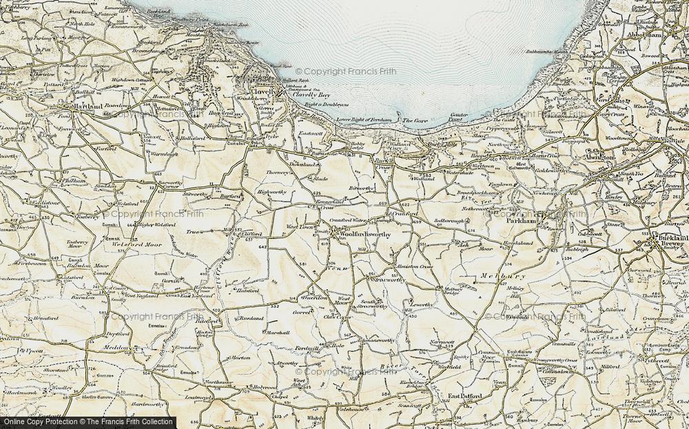 Old Map of Woolfardisworthy, 1900 in 1900