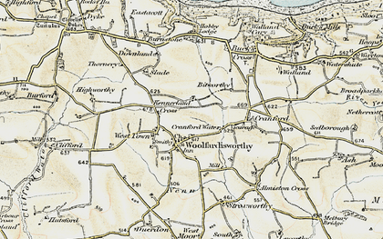 Old map of Woolfardisworthy in 1900