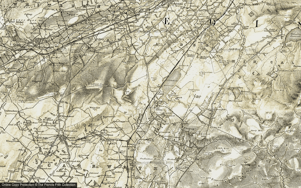 Old Map of Historic Map covering Woolfords in 1904-1905