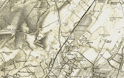 Old map of Woolfords in 1904-1905