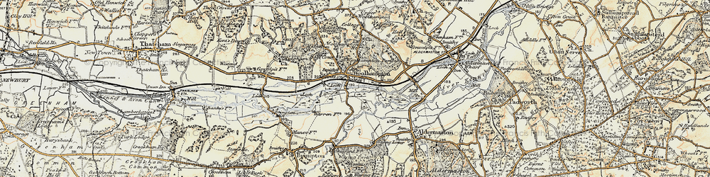 Old map of Woolhampton in 1897-1900