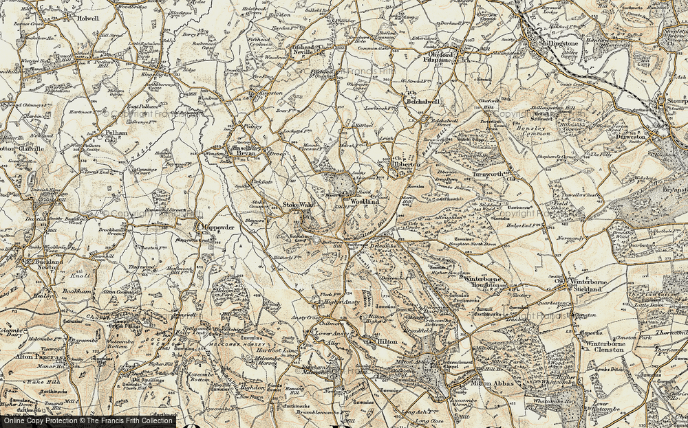 Old Map of Historic Map covering Woolland Hill in 1897-1909