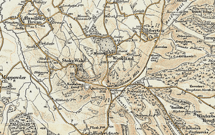 Old map of Woolland in 1897-1909