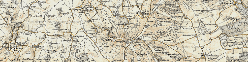 Old map of Woolland Hill in 1897-1909