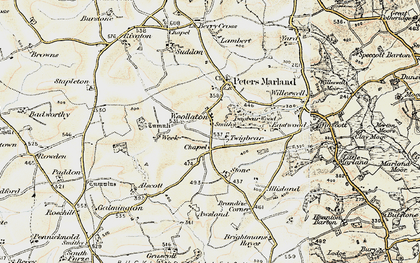 Old map of Awsland in 1900