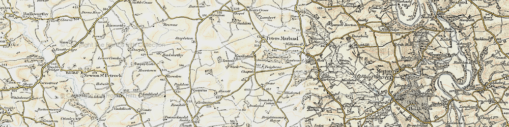 Old map of Woollaton in 1900