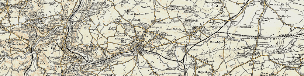 Old map of Woolley in 1898-1899