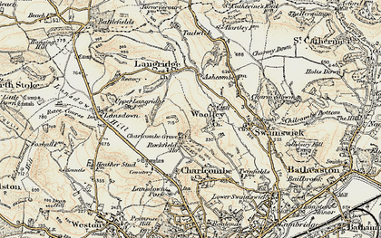 Old map of Woolley in 1899