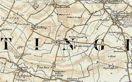 Old map of Woolley in 1901