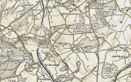 Old map of Woolley Edge Service Area in 1903