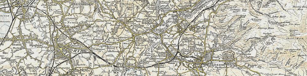 Old map of Woolley Bridge in 1903