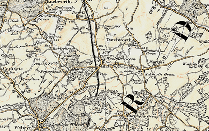 Old map of Woolmer Green in 1898-1899