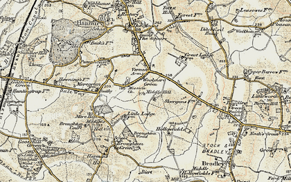 Old map of Woolmere Green in 1899-1902