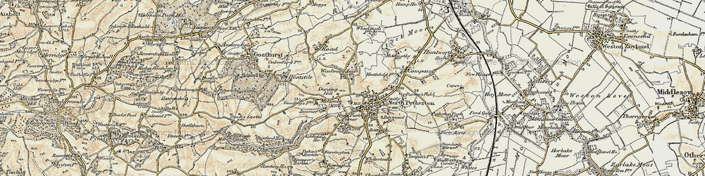 Old map of Woolmersdon in 1898-1900